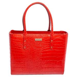 Kate Spade Red Croc Embossed Leather Quinn Tote