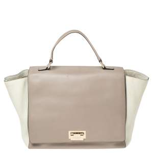 Kate Spade Beige/White Leather Top Handle Bag