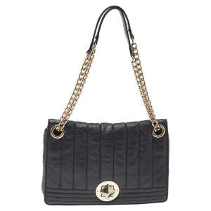 Kate Spade Black Leather Turnlock Chain Shoulder Bag
