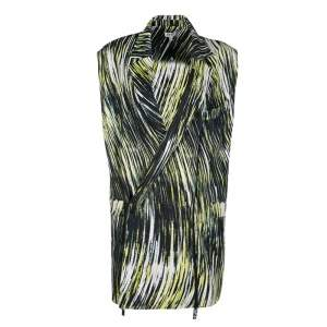 Kenzo Multicolor Printed Cotton Twill Zip Detail Long Sleeveless Jacket M