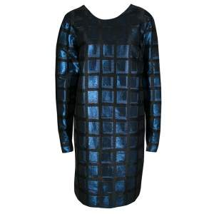 Kenzo Blue and Black Metallic Square Jacquard Long Sleeve Shift Dress L
