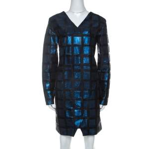 Kenzo Blue and Black Metallic Square Jacquard Long Sleeve Shift Dress M