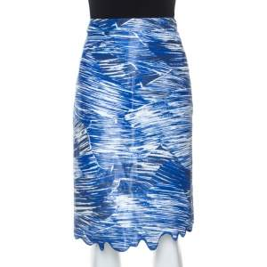 Kenzo Blue Broken Waves Printed Silk Embroidered Hem Pencil Skirt S