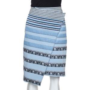 Kenzo Blue Stretch Knit Striped Applique Wrap Skirt M