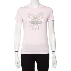 Kenzo Light Pink Cotton Tiger Logo Printed T-Shirt XS