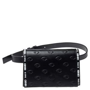 Kenzo Black Leather Kontact Eye Embossed Belt Bag