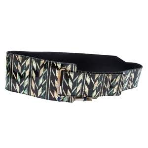 Kenzo Multicolor Printed Patent Leather Strap Waist Belt 90CM