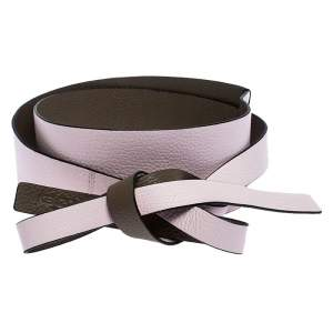Kenzo Pink/Brown Leather Reversible Wrap Waist Belt