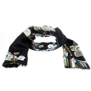 Kenzo Black Floral Jacquard and Printed Silk & Wool Scarf