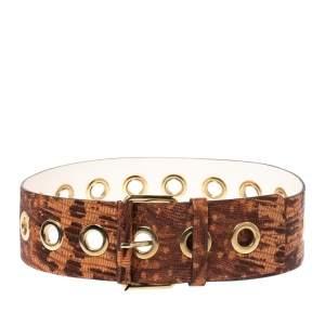 Kenzo Brown/Orange Lizard Embossed Leather Waist Belt 92CM
