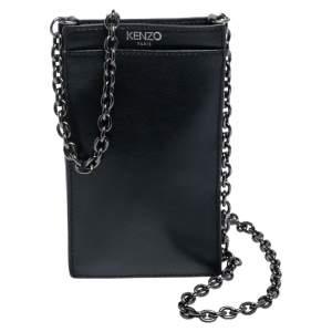 Kenzo Black Leather Eye Crossbody Phone Case