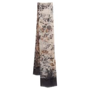 Kenzo Beige Floral Printed Cotton Scarf