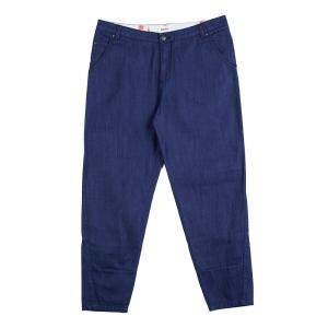 Kenzo Indigo Denim Paneled Bottom Detail Tapered Baggy Jeans L