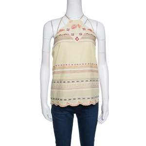 Kenzo Yellow Contrast Embroidered Cotton Halter Top M