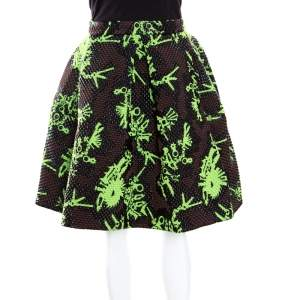 Kenzo Multicolor Jacquard Quilted Pleated Tool Monster Skirt M
