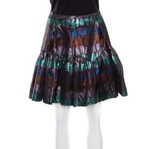 Kenzo Metallic Lurex Jacquard Heart Patterned Gathered Mini Skirt M