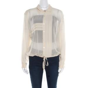 Kenzo Beige Pleated Waist Tie Detail Long Sleeve Blouse XL