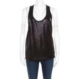 Kenzo Monochrome Sequined Front Polka Dotted Racer Back Top L