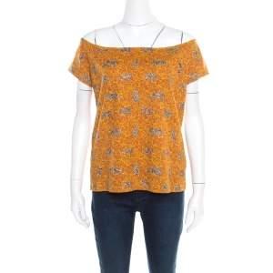 Kenzo Mustard Scribble Print Cotton Off Shoulder Top XL