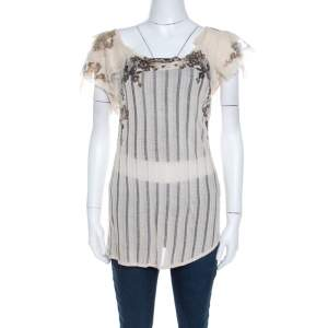 Kenzo Buttercream Foil Print Striped Knit Layered Tulle Sleeve Top XL