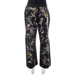 Kenzo Black Floral Embellished Cotton High Waist Straight Fit Trousers L