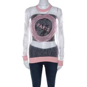 Kenzo Pink Paris Embroidered Sheer Pullover S