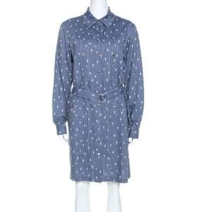 Kenzo Blue Denim Cactus Print Belted Shirt Dress L