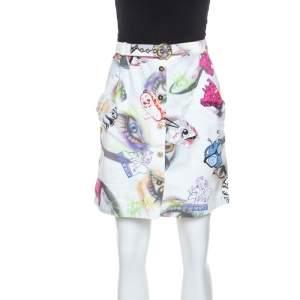 Kenzo White Printed Cotton Visage Button Down Skirt M
