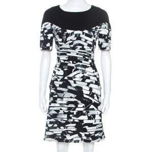 Kenzo Black Spray Striped Stretch Crepe Short Dress M