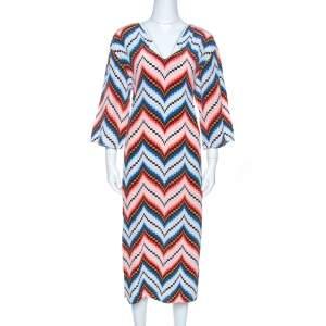 Kenzo Multicolor Silk Chevron Pattern Midi Dress S