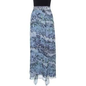 Kenzo Blue Abstract Print Silk Plisse Skirt L