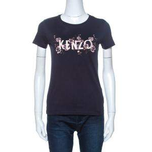 Kenzo Navy Blue Floral Logo Print Short Sleeve T-Shirt XS