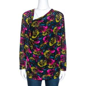 Kenzo Multicolor Printed Silk Asymmetric Draped Neck Top XL
