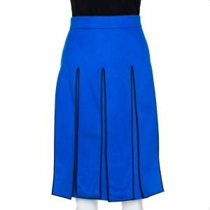 Kenzo Blue Wool Cashmere Blend Contrast Piping Detail Skirt L