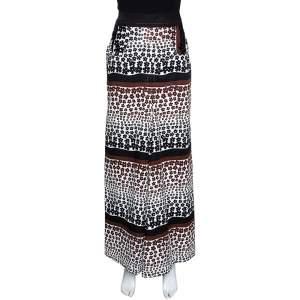 Kenzo Brown Floral Print Cotton Maxi Skirt S