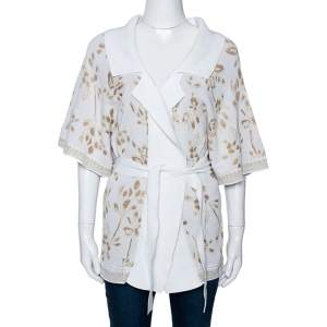 Kenzo White & Gold Lurex Knit Belted Kimono Sweater S