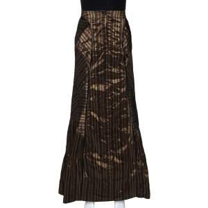 Kenzo Black & Gold Striped Taffeta Maxi Skirt L