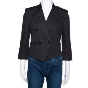 Kenzo Black Cotton Linen Double Breasted Crop Jacket M