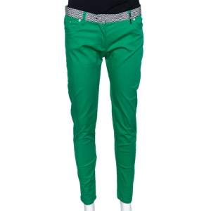 Kenzo Green Cotton Contrast Waist Band Trousers M
