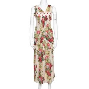 Kenzo Beige Polka Textured Floral Print Silk Draped Maxi Dress S