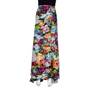 Kenzo Multicolor Floral Print Silk Maxi Skirt M