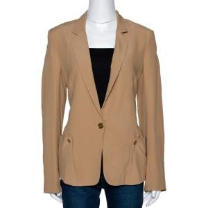Kenzo Camel Textured Crepe Single Button Blazer M