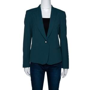 Kenzo Forest Green Crepe Gathered Detail Single Button Blazer L