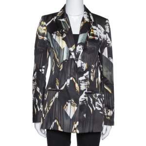 Kenzo Black Abstract Print Single Buttoned Blazer M