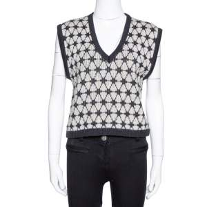 Kenzo Black Patterned Wool Knit Cropped Sleeveless Sweater L