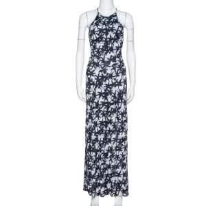 Kenzo Black Palm Tree Print Jersey Open Back Maxi Dress S