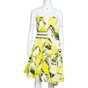 Kenzo Yellow Textured Cotton Mountain Print Sleeveless Collared Dress L