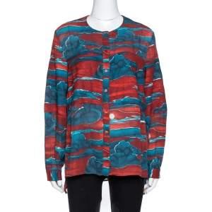 Kenzo Maroon Cloud Print Chiffon Long Sleeve Blouse L
