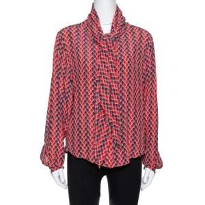 Kenzo Red Printed Silk Neck Tie Detail Long Sleeve Shirt L
