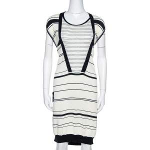 Kenzo Off White & Navy Striped Cotton Knit Sweater Dress L